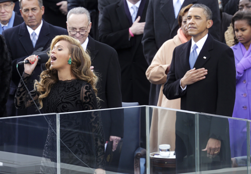 DC:  Beyonce sings the National Anthem at Ceremonial swearing-in of President Obama